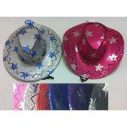 24 Units of Sequin Cowboy Hat--Stars - Cowboy & Boonie Hat