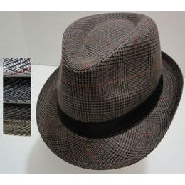 120 Units of Fedora Hat-Plaid with Solid Hat Band - Fedoras, Driver Caps & Visor