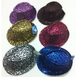 120 Units of Fedora Hat--Sequins with Animal Print - Fedoras, Driver Caps & Visor