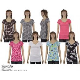 144 Units of Ladies Short Sleeve Top - Womens Fashion Tops