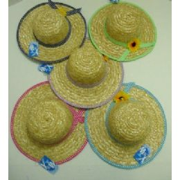 120 Units of Girl's Straw Hat With Sunflower Polka Dot Trim - Sun Hats