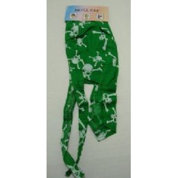 72 Units of Skull CaP-Green Skull & Crossbones - Bandanas