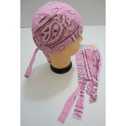 36 Units of Skull Cap-Light Pink Paisley - Bandanas