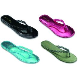 48 Units of Ladies Beaded Flip Flop - Women's Sandals