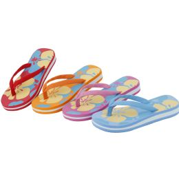 48 Units of Girls Flower Printed Flip Flop Assorted Colors - Girls Flip Flops