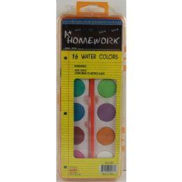 48 Units of Water Colors 16 Colors W/brush Plastic Case Washable - Art Paints