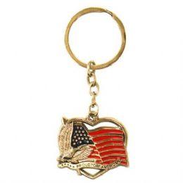 72 Units of Keychain USA Flag Heart - Key Chains