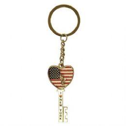12 Units of Keychain Liberty Flag Heart Key - Key Chains