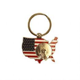 12 Units of Keychain USA Liberty Map - Key Chains