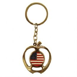 12 Units of Keychain USA Flag Apple - Key Chains