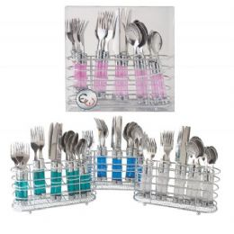 12 Units of 20 Piece Flatware Set With Chrome holder Clear only - Kitchen Cutlery