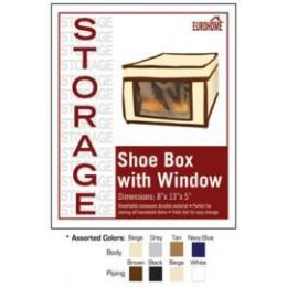 "36 Units of 8"" x 13"" x 5"" SHOE BOX WITH WINDOW -4 ASSORTED COLORS - Storage Holders and Organizers"