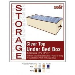 "36 Units of 39"" x 18"" x 11"" CLEAR TOP UNDER BED BOX -4 ASSORTED COLORS - Storage Holders and Organizers"