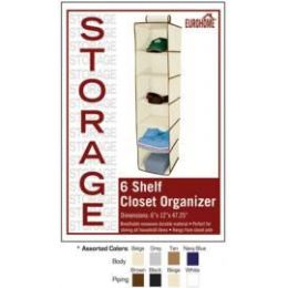 24 Units of 6 SHELF CLOSET ORGANIZER 4 ASSORTED COLORS - Storage Holders and Organizers