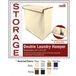 8 Units of Double Laundry Hamper 4 Assorted Colors - Laundry Baskets & Hampers