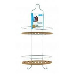 6 Units of Deluxe Bamboo And Chrome Shower Caddy - Bathroom Accessories