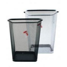12 Units of Square Mesh Waste Bin Assorted Black And Silver - Waste Basket