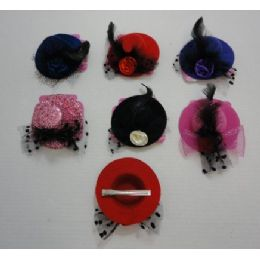 """72 Units of 4.25"""" Fancy Hat Hair Clip-Large - Hair Accessories"""