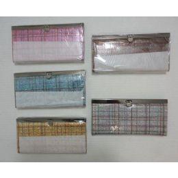 """48 Units of 7.5""""x4"""" Expandable Ladies Wallet-Sparkle Plaid - Wallets & Handbags"""