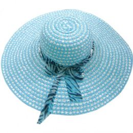 48 Units of Ladies Summer Sun Hat With Zebra Bow - Sun Hats
