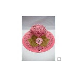 48 Units of Ladies Fashion Sun Hat Pink Color Only - Sun Hats