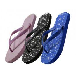 48 Units of Women's Letter Print In Sole Flip Flop - Women's Flip Flops