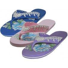 48 Units of Women's Floral Print Flip Flops - Women's Flip Flops