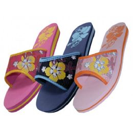 48 Units of Women's Floral Print Slide Slipper - Women's Slippers