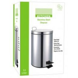4 Units of 12 Liter Stainless Steel Step Can With Plastic Inner Hygienic Bin - Waste Basket