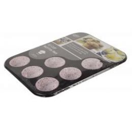 12 Units of 12 Cup Muffin Pan With Paper Cups - Baking Supplies