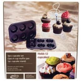6 Units of 3 Piece Cupcake Set With Stand - Baking Supplies