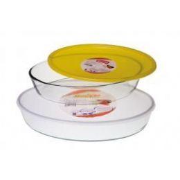 6 Units of Marinex Oval Baking Dish W/plastic LiD- 3.4 qt - Glassware