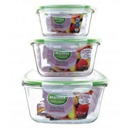 6 Units of Marinex 2 L/2.1 Qt Square Glass Container W/locking Lid - Glassware