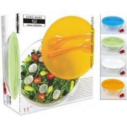 6 Units of Glass Salad Bowl With Cover And Serving Utensils - Serving Trays