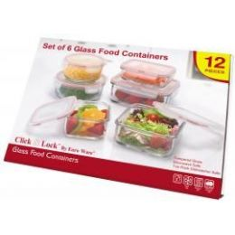4 Units of 12-Pc. Glass Food Container Set W/ Plastic Click & Lock Lids - Glassware