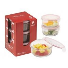 6 Units of 6-PC.Round Glass Container Set w/ Plastic Click & Lock Lids - Glassware
