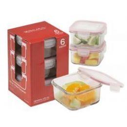 6 Units of 6-Pc.square Glass Container Set W/ Plastic Click & Lock Lids - Glassware