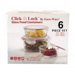 4 Units of 6-PC Round Glass Plus Food Containers w/ Plastic Click & Lock Lids - Glassware