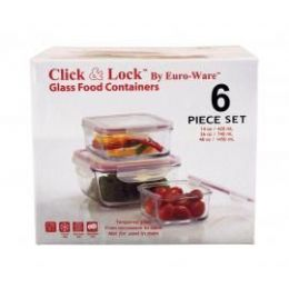 4 Units of 6-PC Square Glass Plus Food Containers w/ Plastic Click & Lock Lids - Glassware