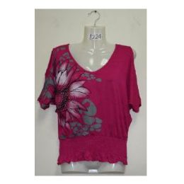 72 Units of PRINTED FLOWER BLOUSE - Womens Fashion Tops