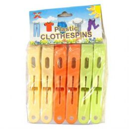 96 Units of Cloth Pin Plastic 6PK - Clothes Pins