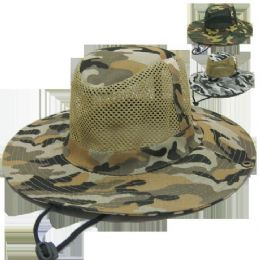 48 Units of Camo Mesh Hunting Hat - Hunting Caps