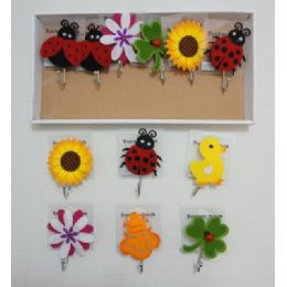 72 Units of Suction Cup Hooks with Felt Accents - Hooks