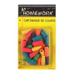 48 Units of EraserS- CaP- Assorted ColorS- 30 Pack - Erasers