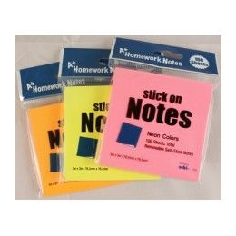 "48 Units of Stick On Notes 3""x 3"" 100 Sheet- Neon Colors - Stickers"