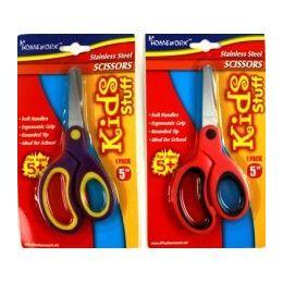 "48 Units of School Scissor- 5""- Soft Grip Blunt Tip - Asst Colors - Scissors"