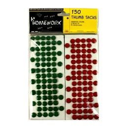 96 Units of Thumb Tacks 150 Pk 75 Red+ 75 Green - Push Pins and Tacks