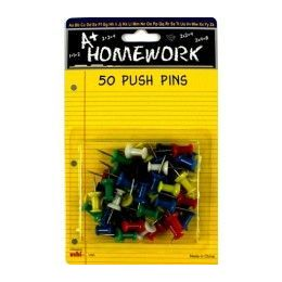 48 Units of Push Pins - 50ct. Asst.cls. - Carded - Push Pins and Tacks