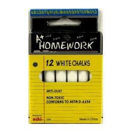 "96 Units of Chalk - White - 12pk - 3"" sticks - Boxed - Chalk,Chalkboards,Crayons"