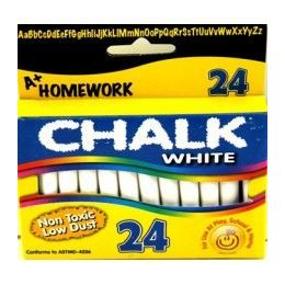 "96 Units of Chalk - White - 24 pk - 3"" sticks - Boxed - Chalk,Chalkboards,Crayons"